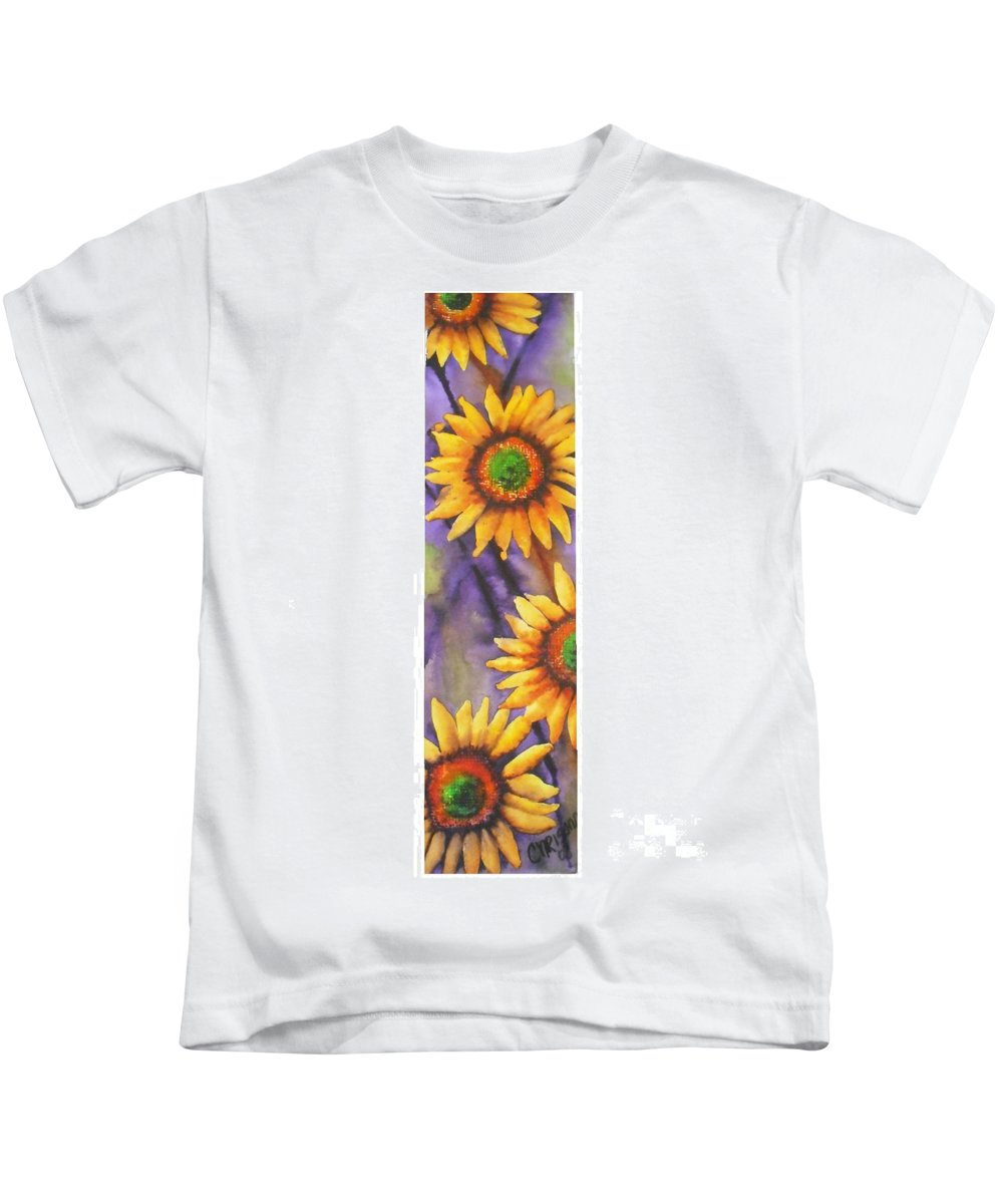 Fine Art Painting Kids T-Shirt featuring the painting Sunflower Abstract by Chrisann Ellis