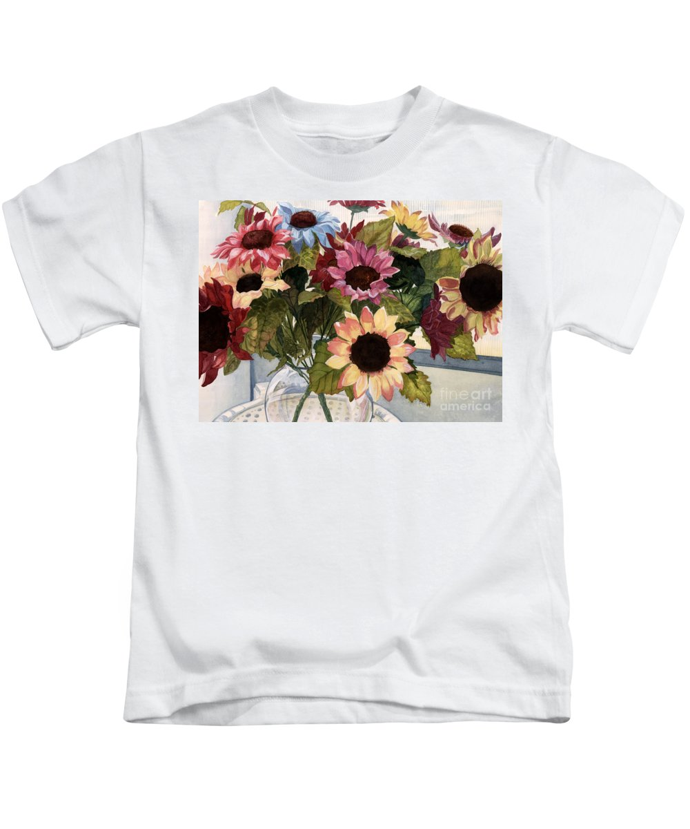 Flowers Kids T-Shirt featuring the painting Sunflowers by Barbara Jewell