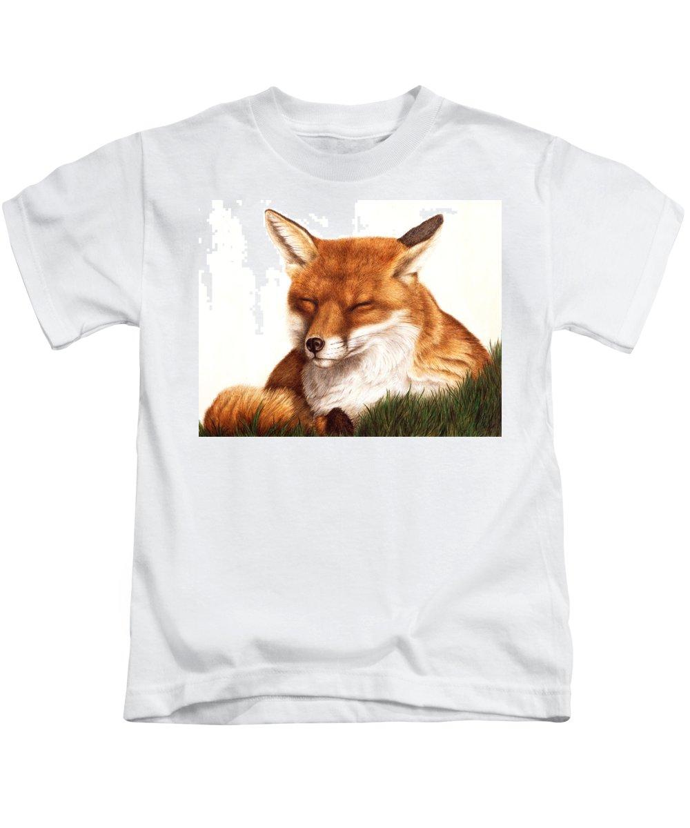 Fox Kids T-Shirt featuring the painting Sunnin' Red Fox by Pat Erickson