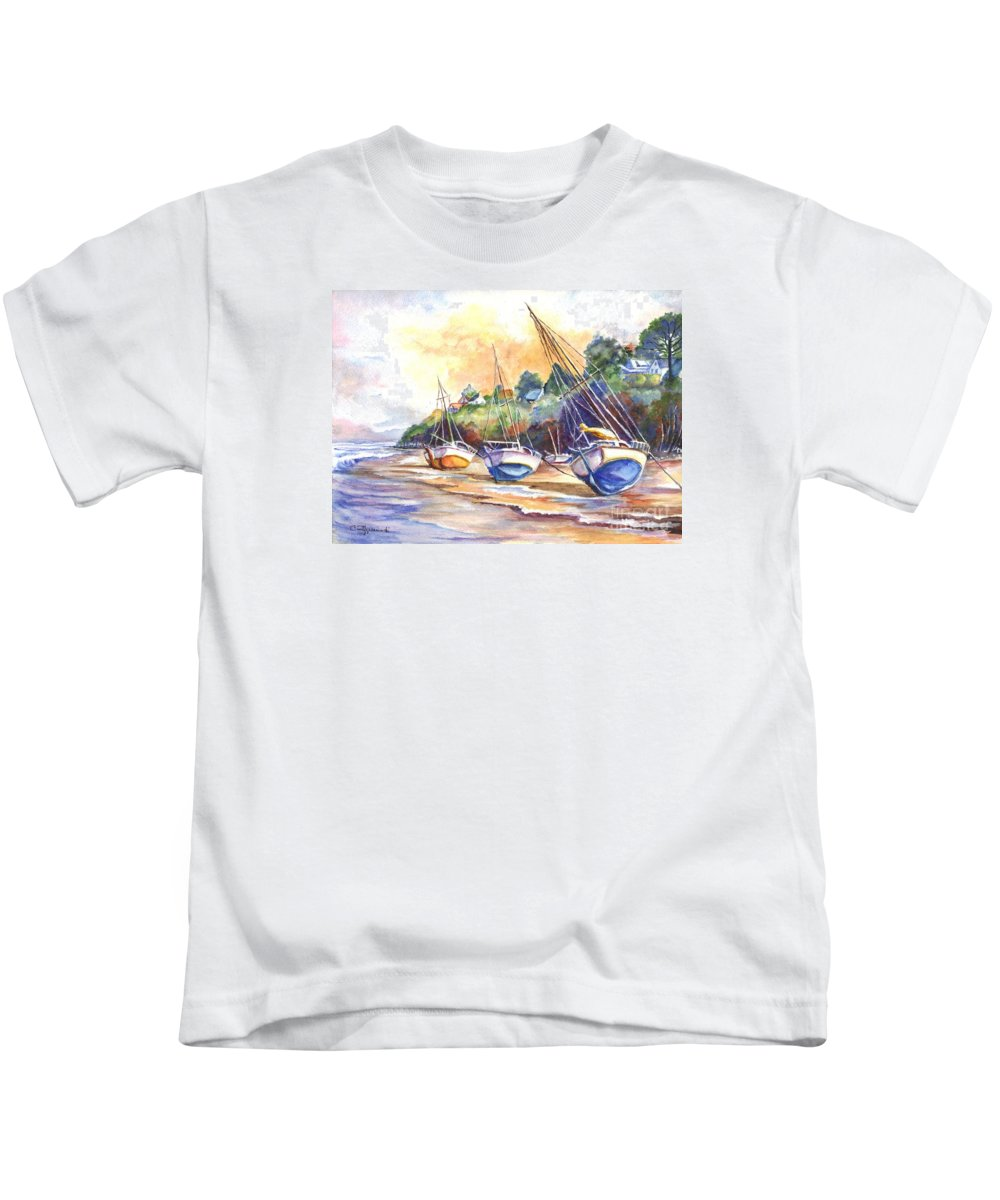Hand Painted Kids T-Shirt featuring the painting Sunset Sail On Brittany Beach by Carol Wisniewski