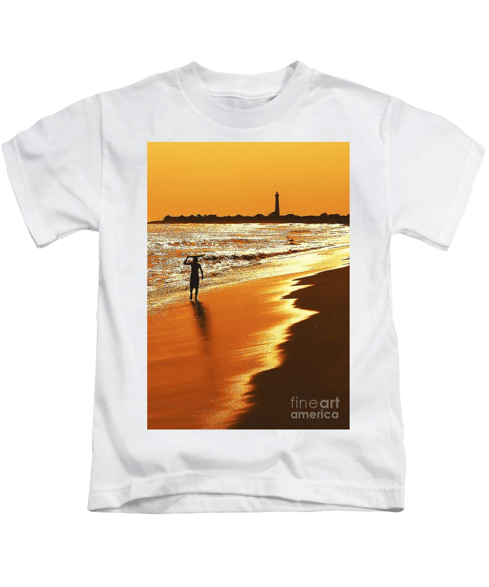 Lighthouses Kids T-Shirt featuring the photograph Sunset Surfer by Anthony Sacco