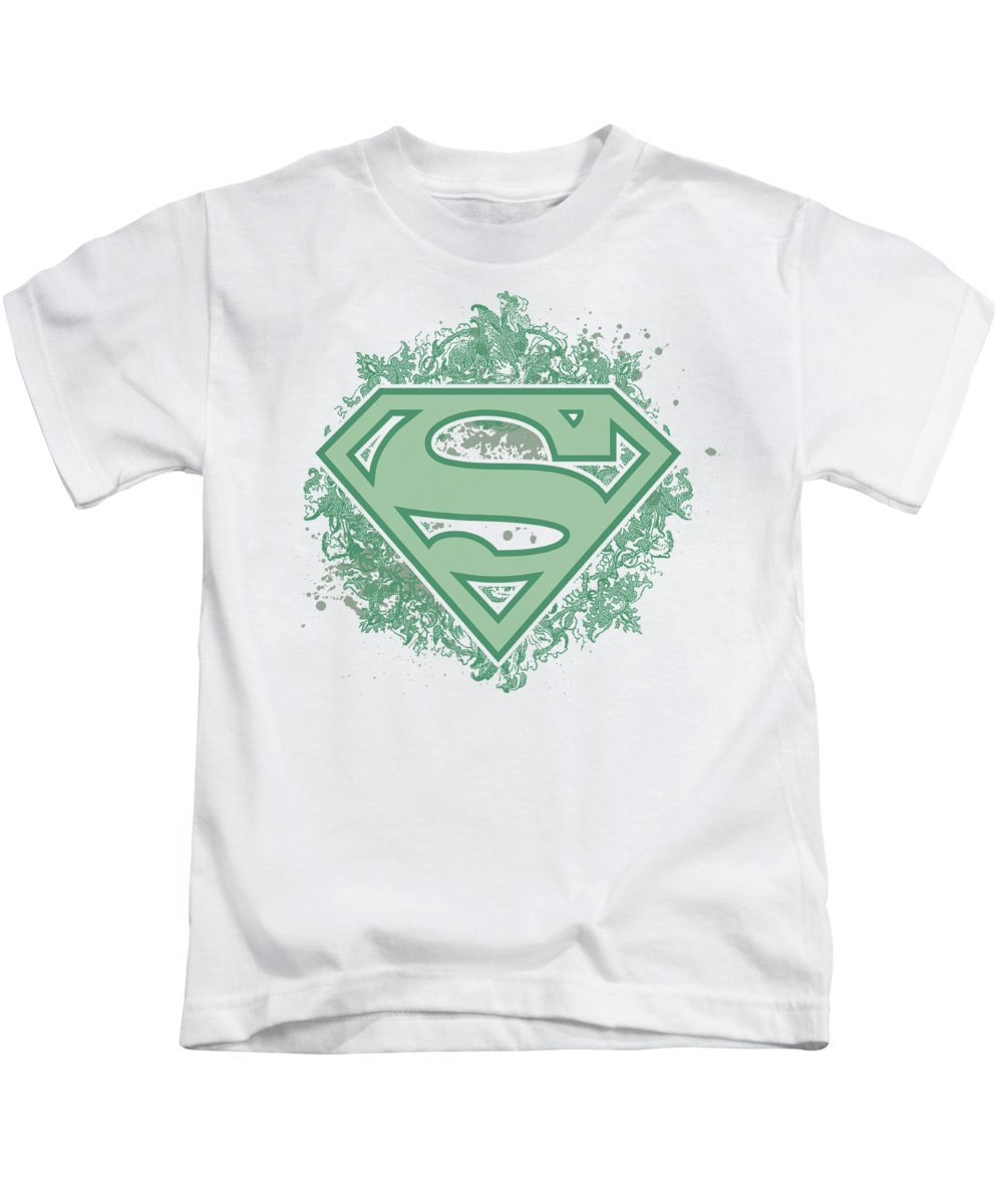 Superman Kids T-Shirt featuring the digital art Superman - Ornate Shield by Brand A