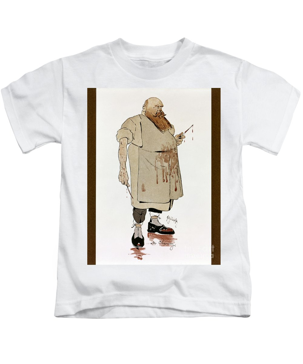 1906 Kids T-Shirt featuring the photograph Surgeon: Caricature, 1906 by Granger