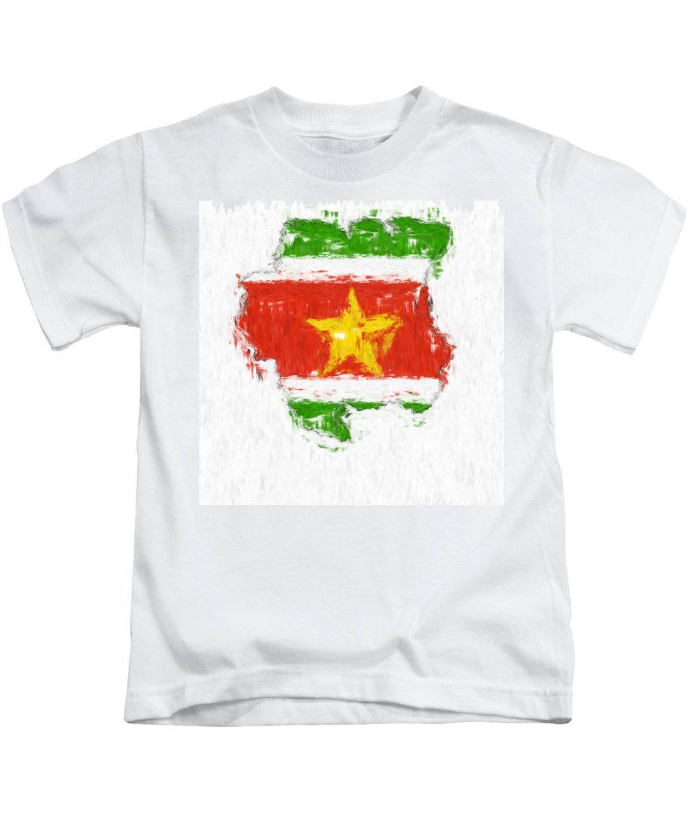 Suriname Kids T-Shirt featuring the painting Suriname Painted Flag Map by Antony McAulay