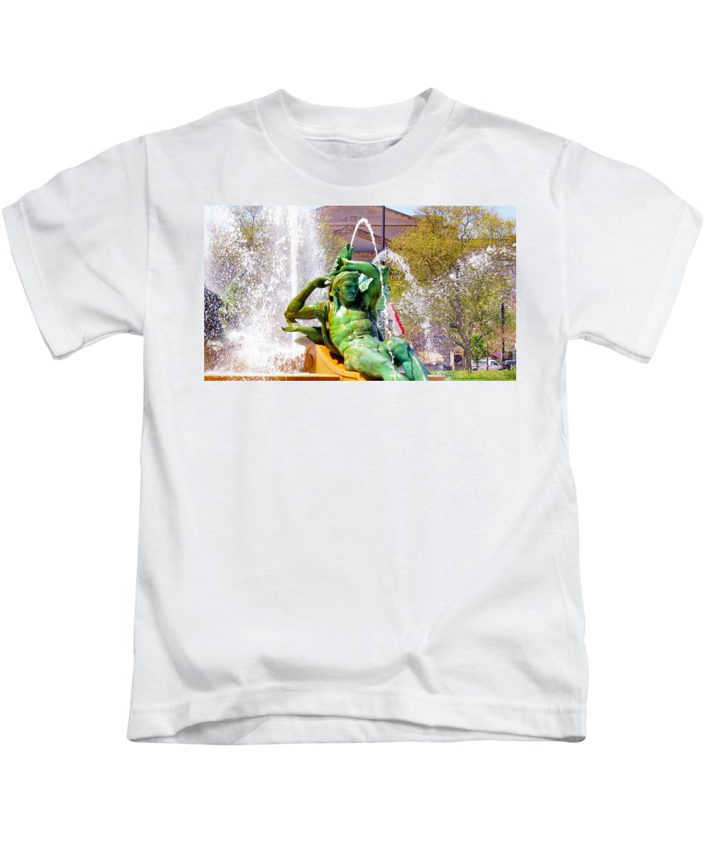 Span Kids T-Shirt featuring the photograph Swann Fountain Gods by Art Dingo