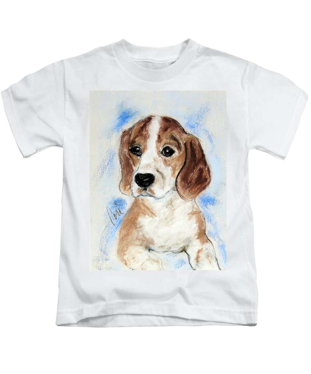 Dog Kids T-Shirt featuring the drawing Sweet Innocence by Cori Solomon