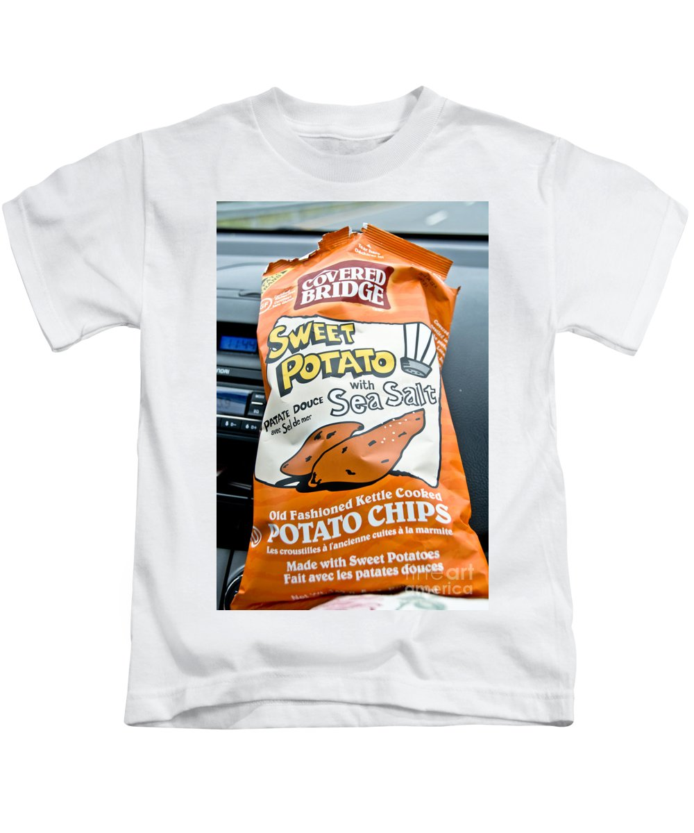 Kids T-Shirt featuring the photograph Sweet Potato Chips by Cheryl Baxter