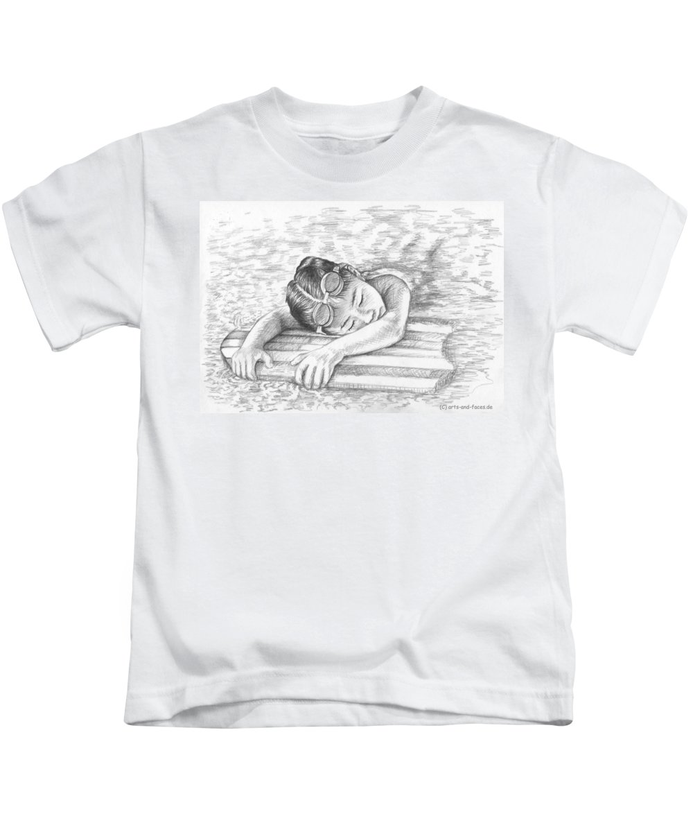 Girl Kids T-Shirt featuring the drawing Swimming Girl by Nicole Zeug