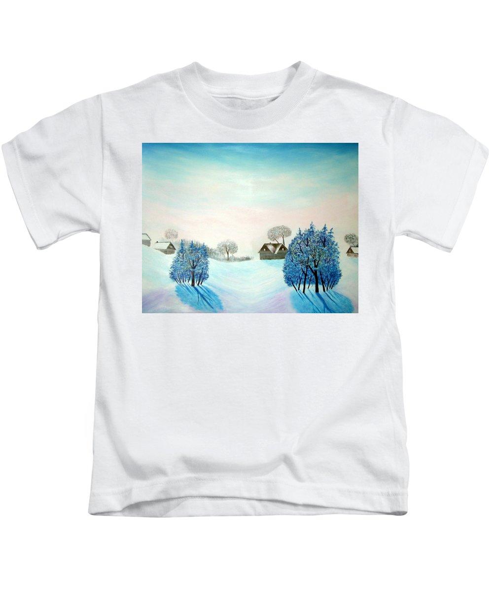 Switzerland Kids T-Shirt featuring the painting Swiss Opus Blue Christmas by Reggie Hart