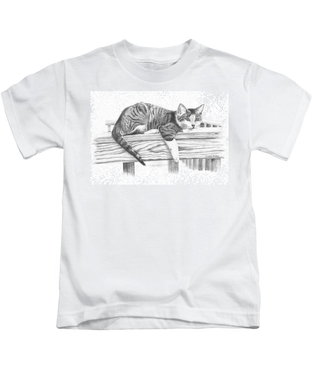 Cat Kids T-Shirt featuring the drawing Tabby Cat by Dustin Miller