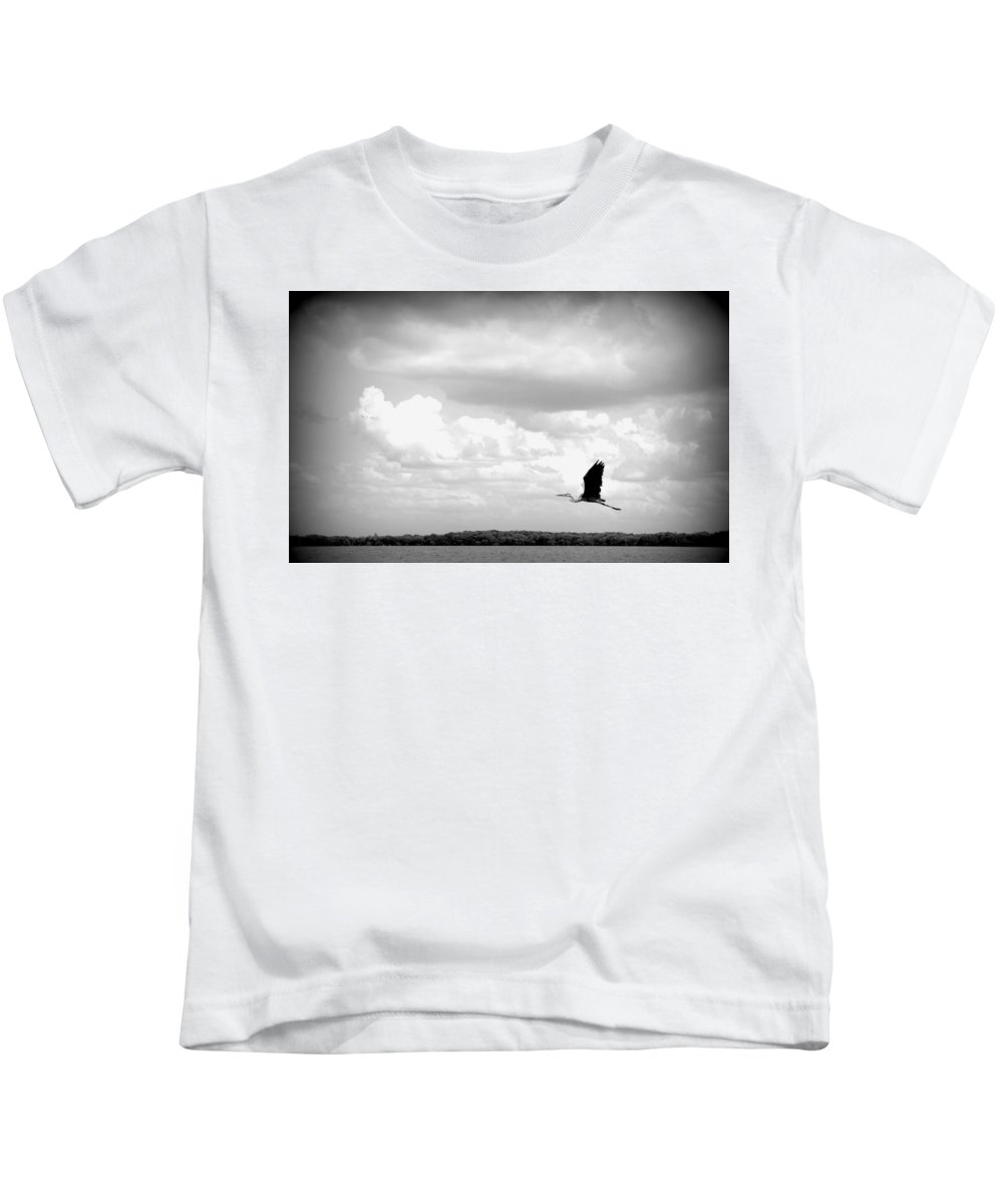 Bird Kids T-Shirt featuring the photograph Take Off by Laurie Perry