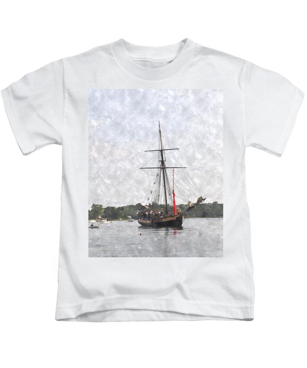 Ship Kids T-Shirt featuring the digital art Tallship Providence Prwc by Jim Brage