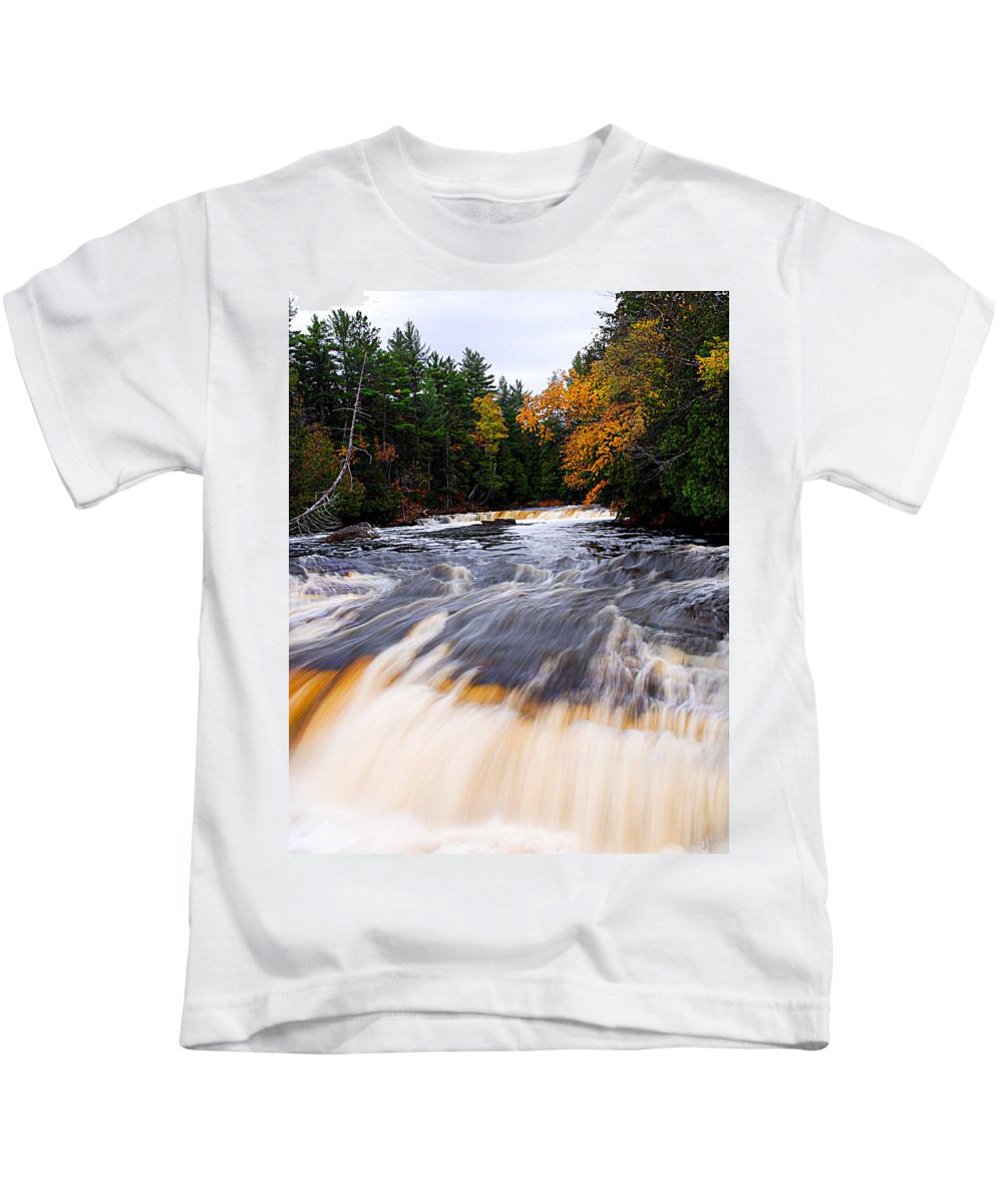 Optical Playground By Mp Ray Kids T-Shirt featuring the photograph Taquamenon River by Optical Playground By MP Ray