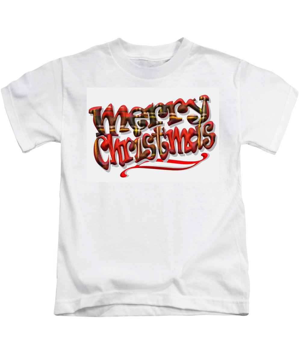 Christmas Kids T-Shirt featuring the photograph Tartan Merry Christmas by Hal Halli