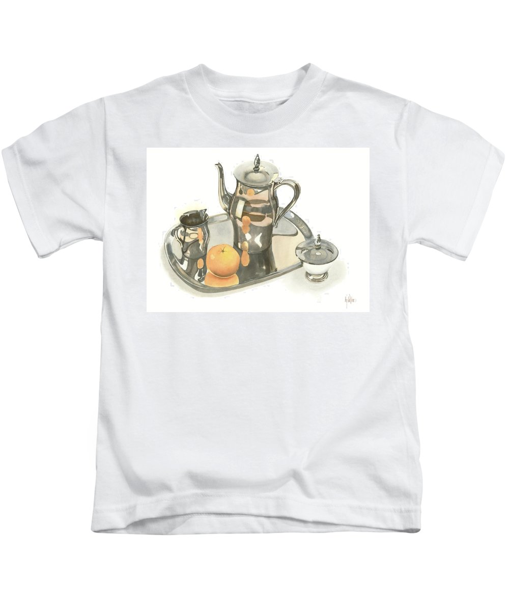 Tea Service With Orange Kids T-Shirt featuring the painting Tea Service With Orange by Kip DeVore