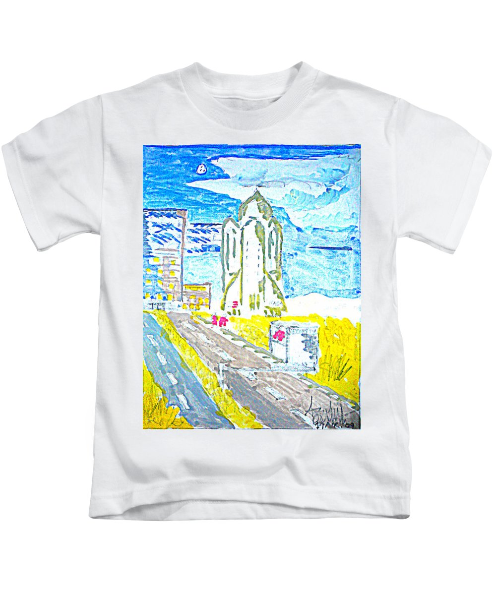 Space Center Kids T-Shirt featuring the painting Technology by Ayyappa Das