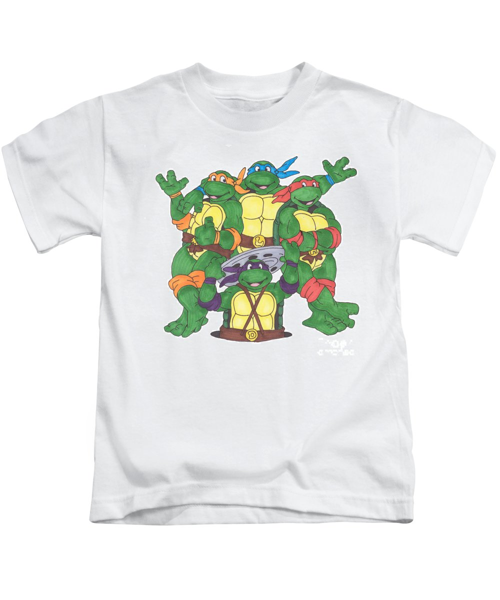 Fanart Kids T-Shirt featuring the painting Teenage Mutant Ninja Turtles by Yael Rosen