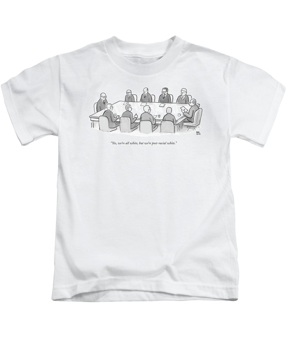 41b2bc3422fb Ethnicity Kids T-Shirt featuring the drawing Ten White Men In Suits Sit  Around A