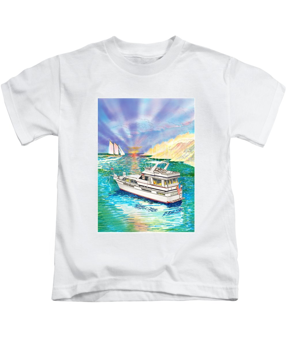 Yacht Portraits Kids T-Shirt featuring the painting Terifico At Anchor by Jack Pumphrey