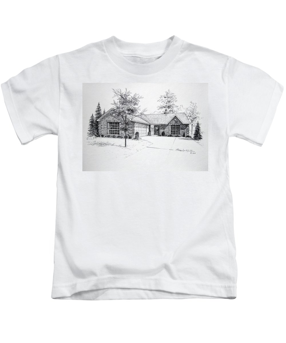 Homes Kids T-Shirt featuring the drawing Texas Home 1 by Hanne Lore Koehler