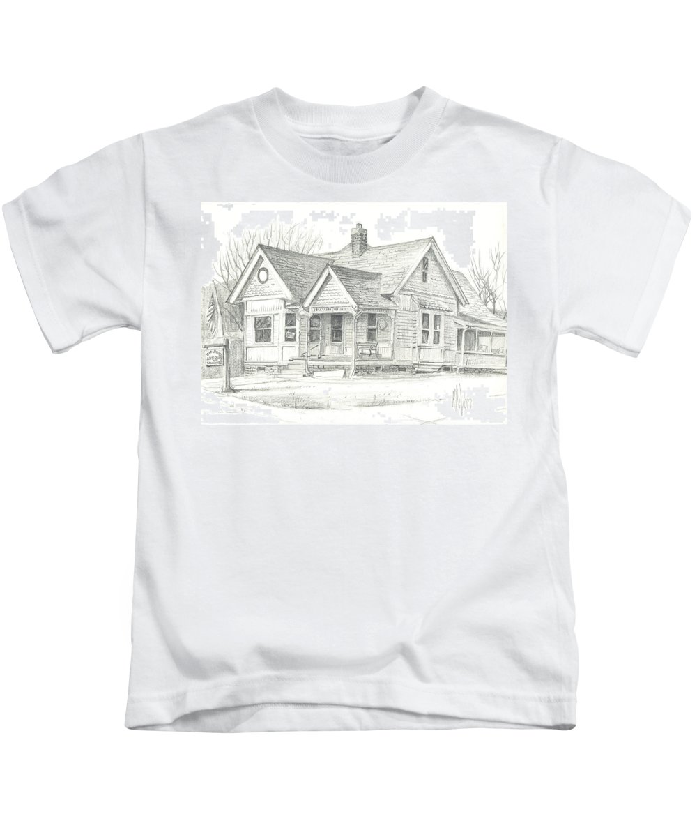 The Antique Shop Kids T-Shirt featuring the drawing The Antique Shop by Kip DeVore