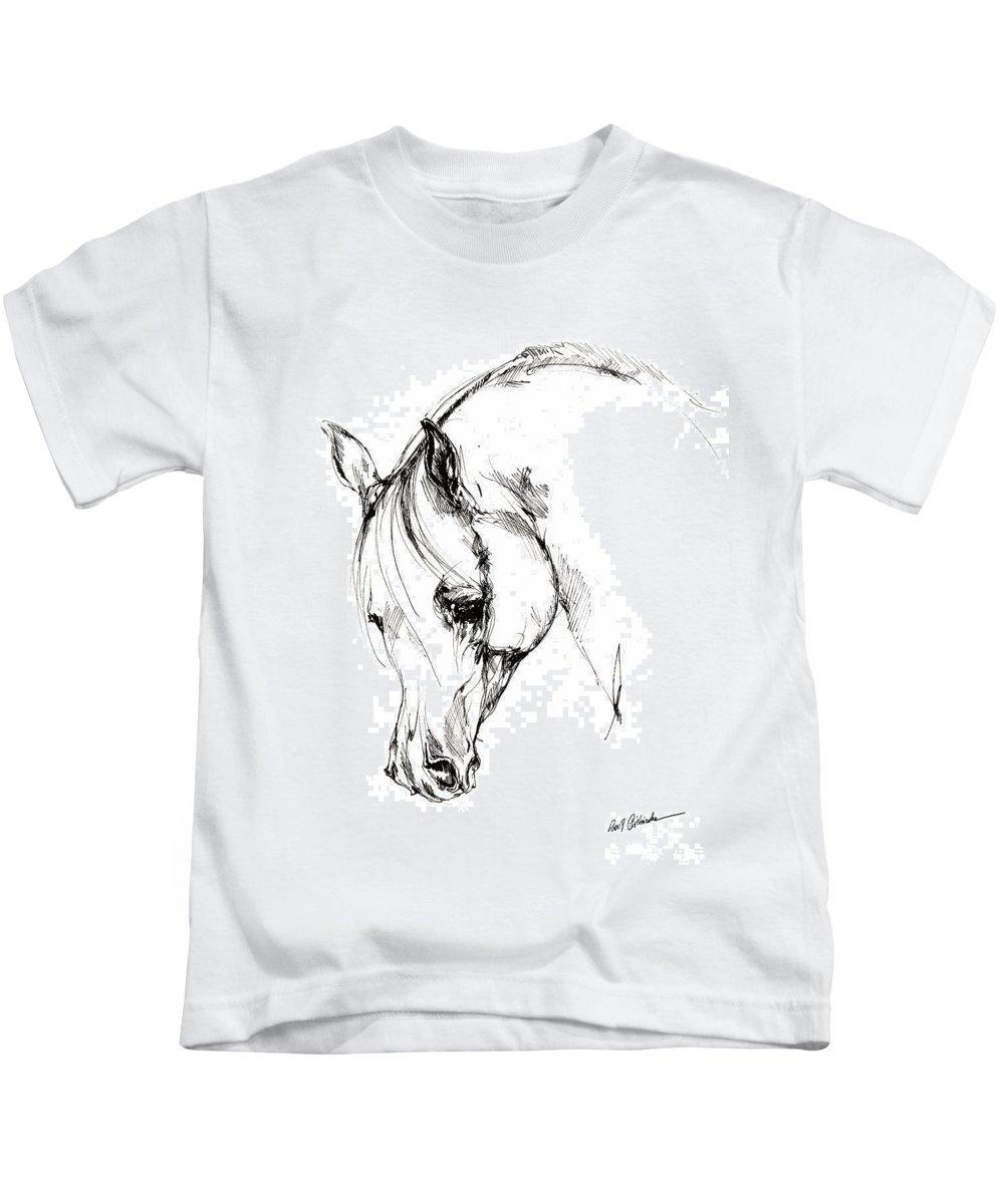 Horse Kids T-Shirt featuring the drawing The Arabian Horse Sketch by Angel Ciesniarska