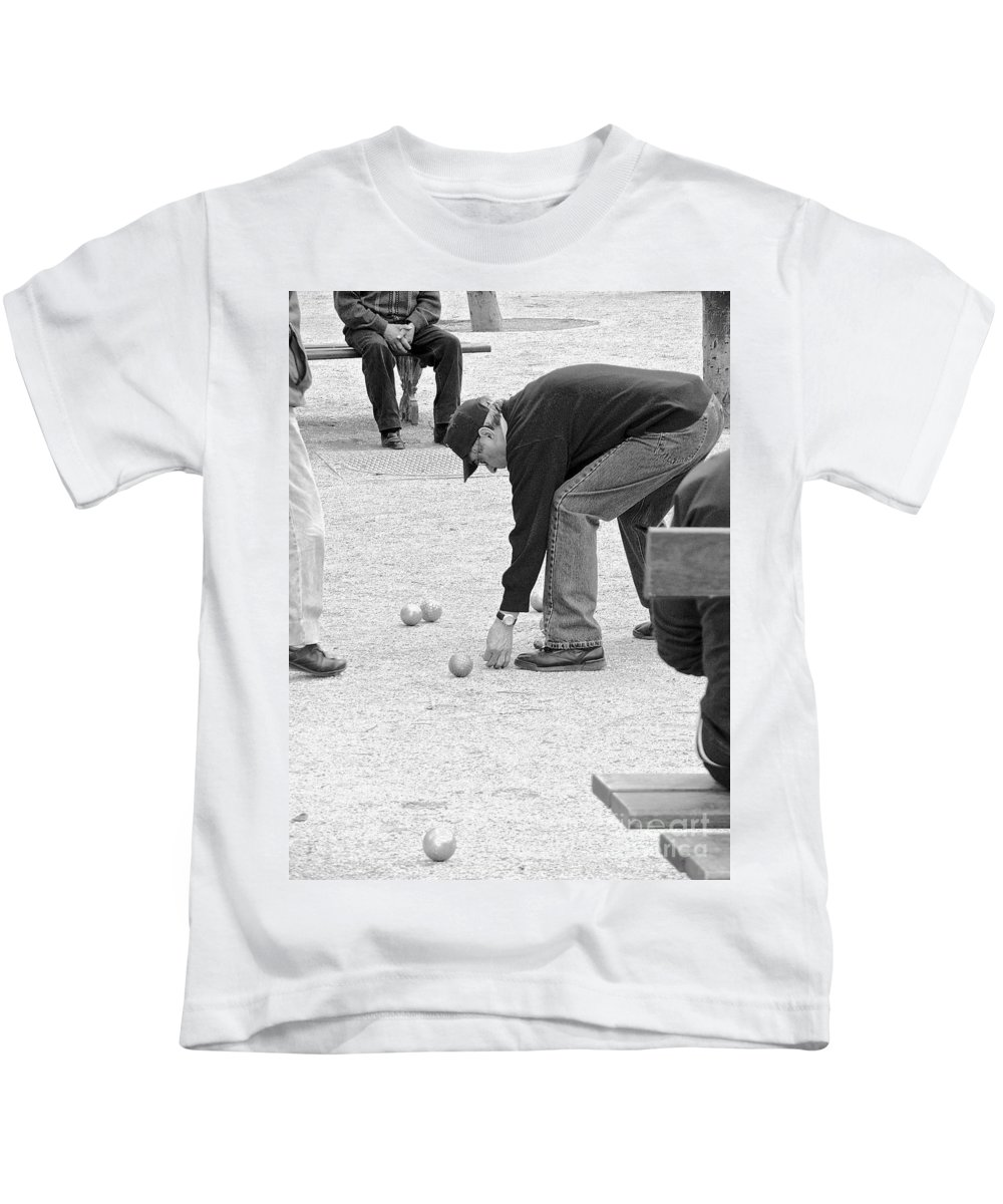 Paris Kids T-Shirt featuring the photograph The Art Of Boules by Suzanne Oesterling