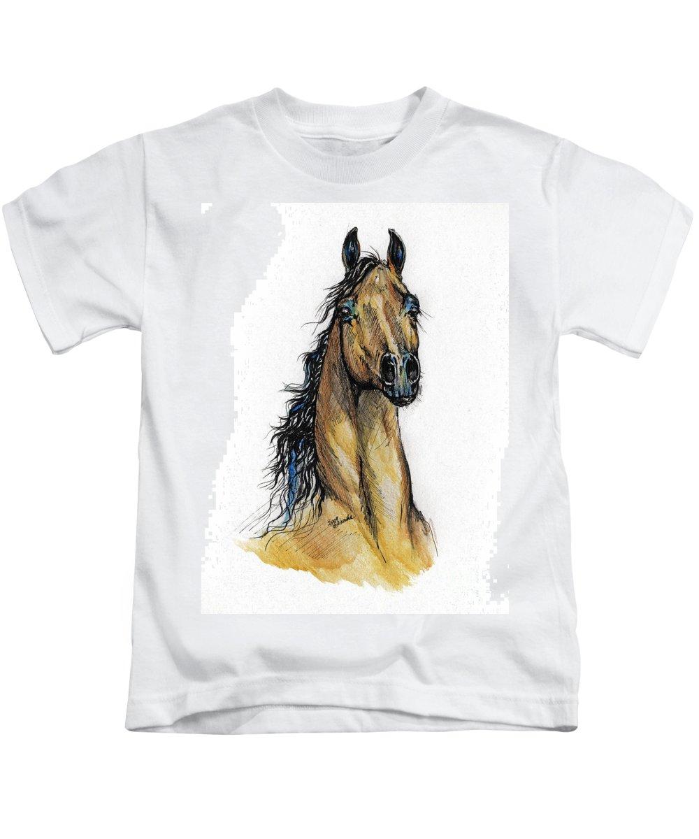 Arab Kids T-Shirt featuring the painting The Bay Arabian Horse 13 by Angel Ciesniarska