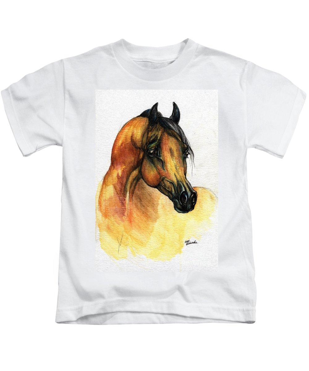 Watercolor Kids T-Shirt featuring the painting The Bay Arabian Horse 14 by Angel Ciesniarska