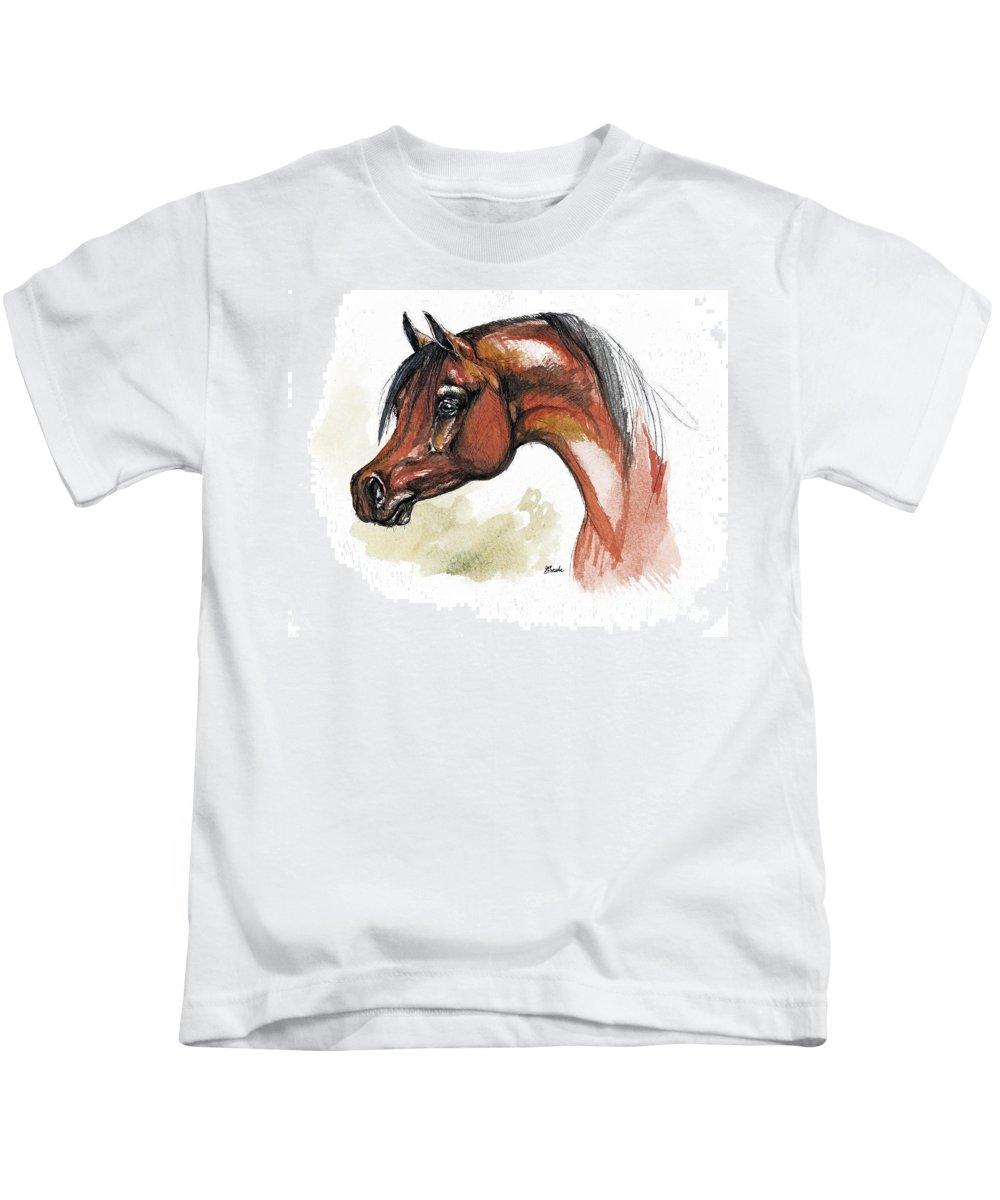 Arab Kids T-Shirt featuring the painting The Bay Arabian Horse 15 by Angel Ciesniarska