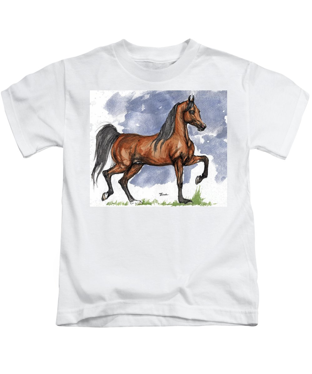 Bay Kids T-Shirt featuring the painting The Bay Arabian Horse 17 by Angel Tarantella