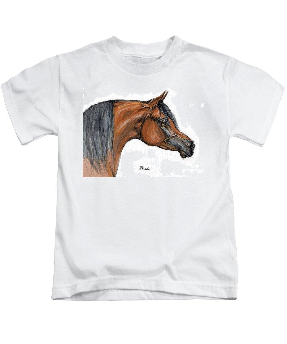 Arabian Kids T-Shirt featuring the painting The Bay Arabian Horse 18 by Angel Ciesniarska