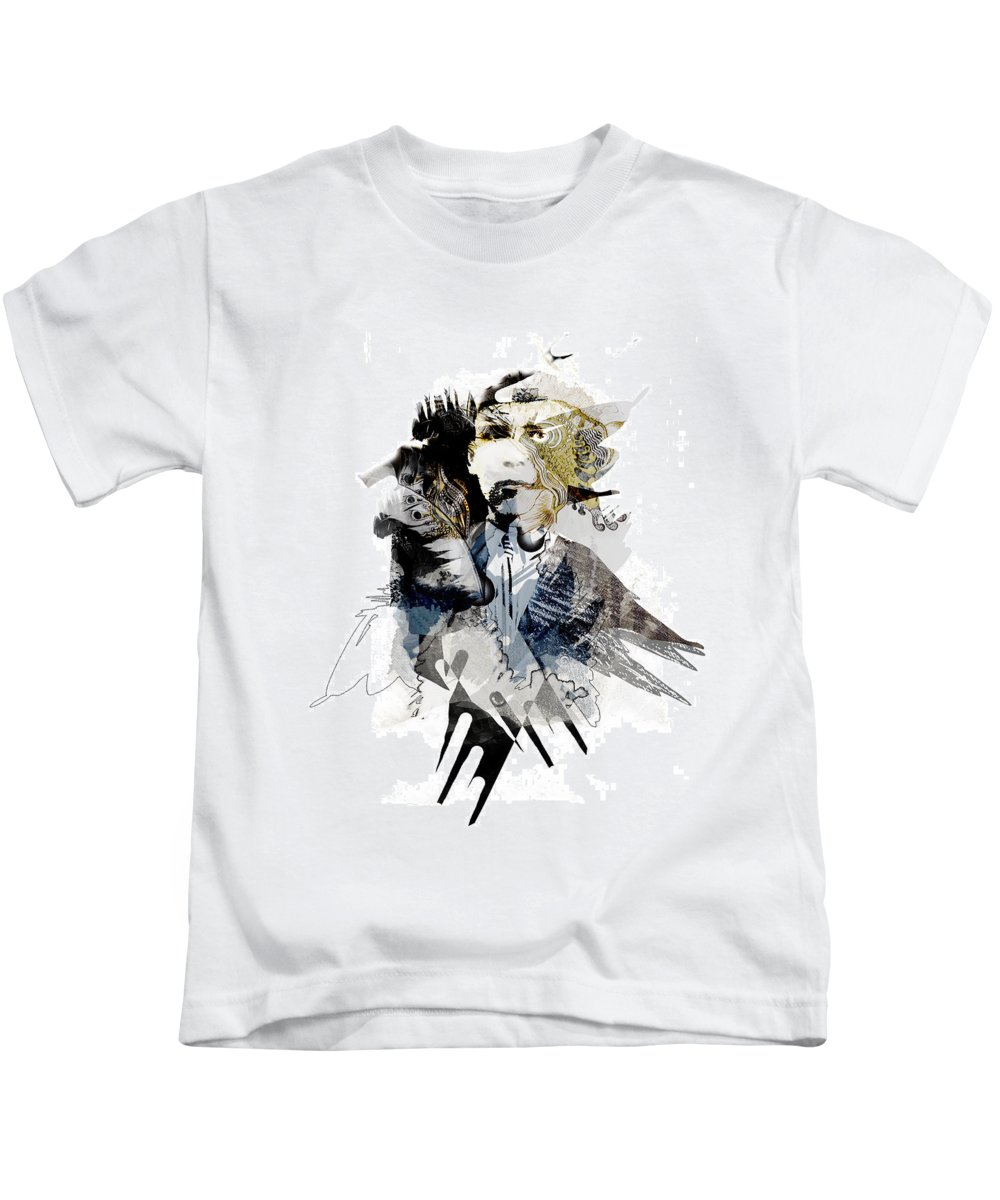 Collage Digital Kids T-Shirt featuring the digital art The birdman by Aniko Hencz