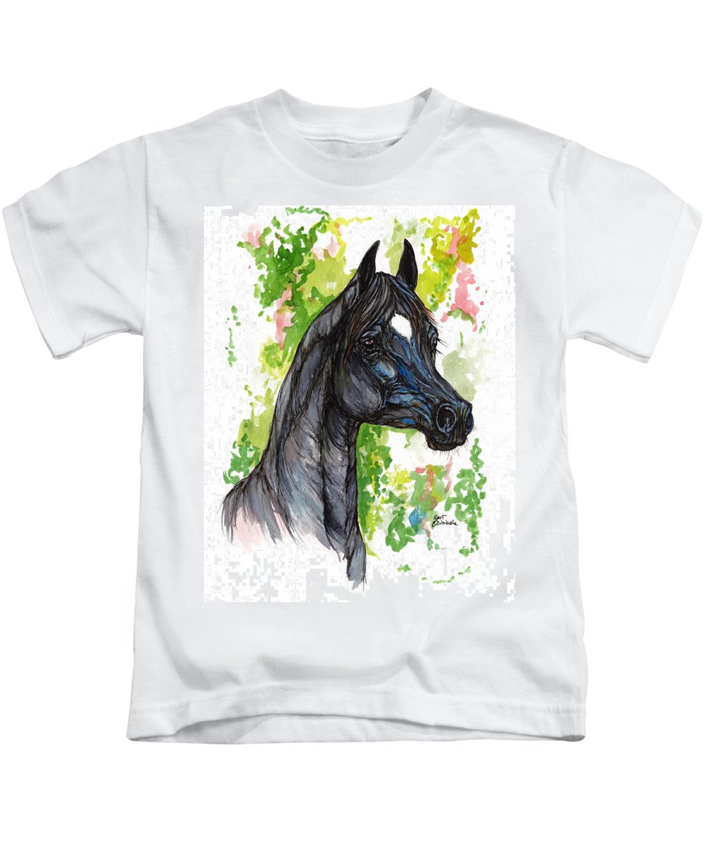 Psychodelic Kids T-Shirt featuring the painting The Black Horse 1 by Angel Ciesniarska