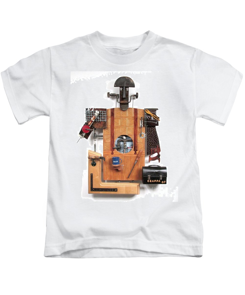 Czappa Kids T-Shirt featuring the sculpture The Carpenter  #16 by Bill Czappa