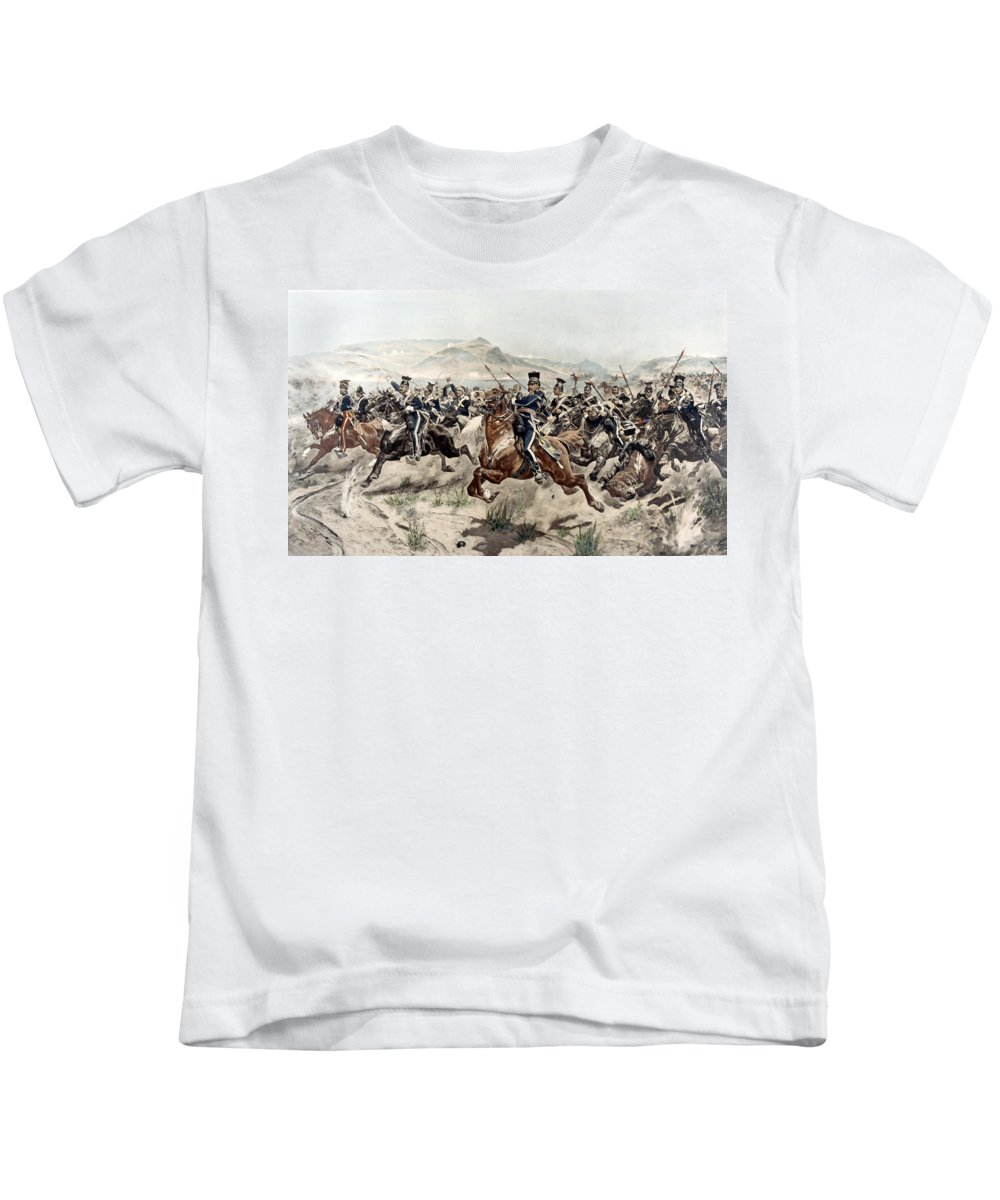 Crimean War Kids T-Shirt featuring the painting The Charge Of The Light Brigade, 1895 by Richard Caton Woodville
