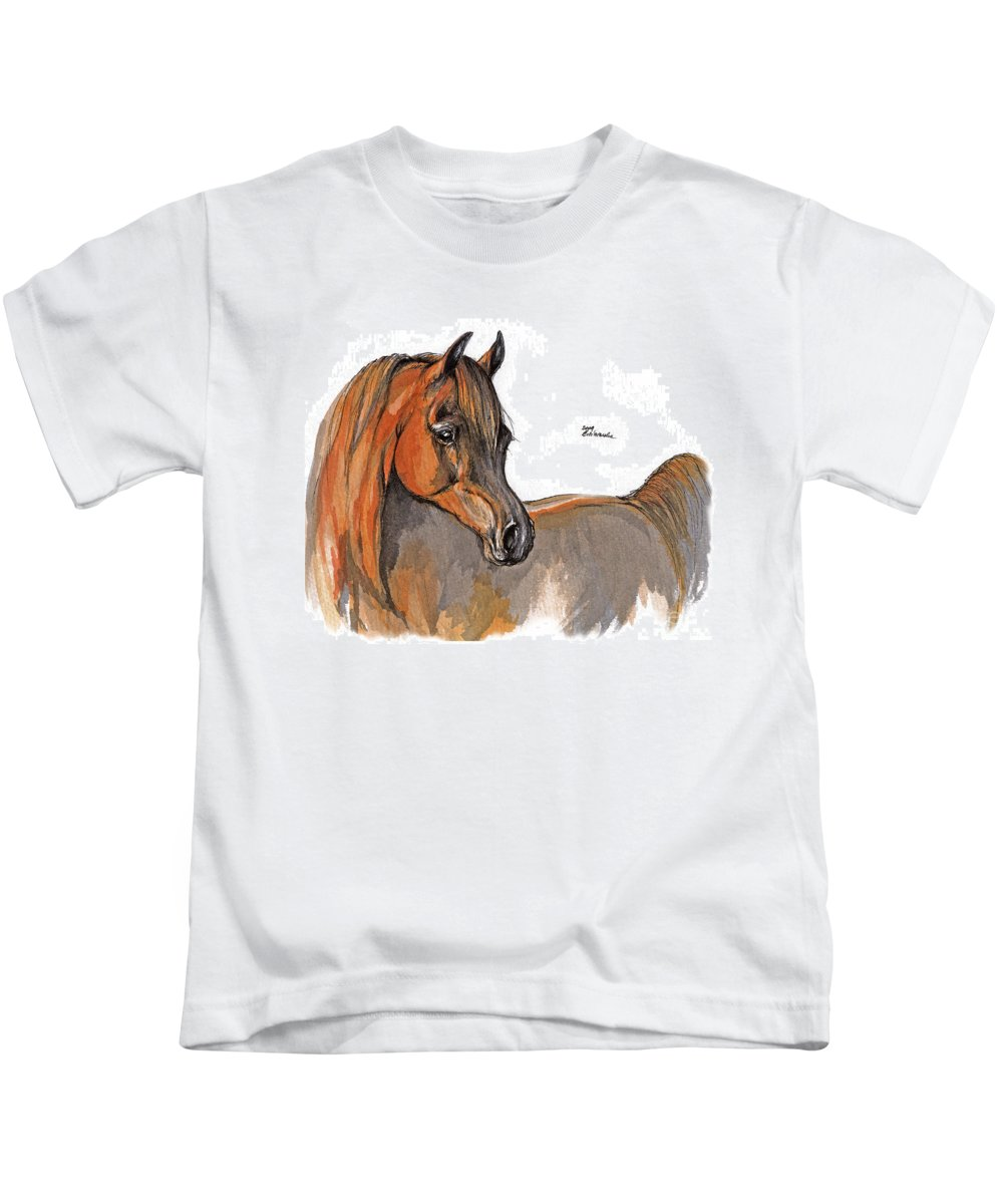 Chestnut Horse Kids T-Shirt featuring the painting The Chestnut Arabian Horse 2a by Angel Ciesniarska