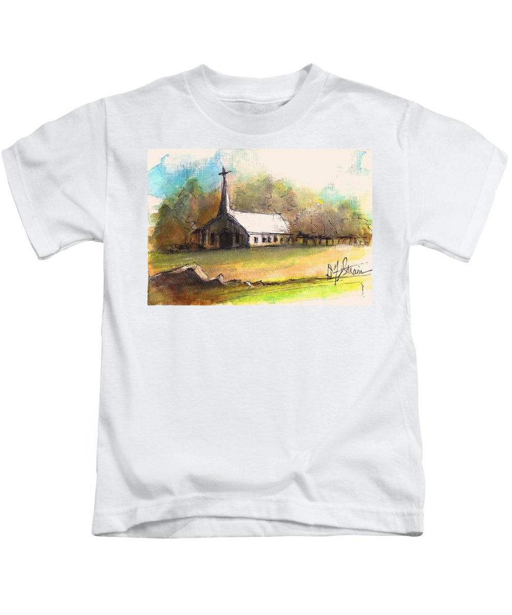 Prairie Kids T-Shirt featuring the painting The Church by Diane Strain