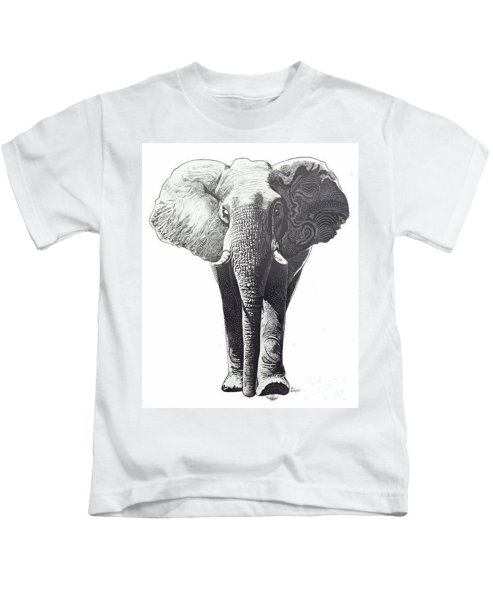 Elephant Kids T-Shirt featuring the drawing The Elephant by Kean Butterfield