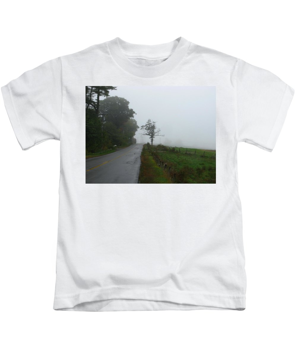 Foggy Kids T-Shirt featuring the photograph The Fog Of Road by Bill Tomsa