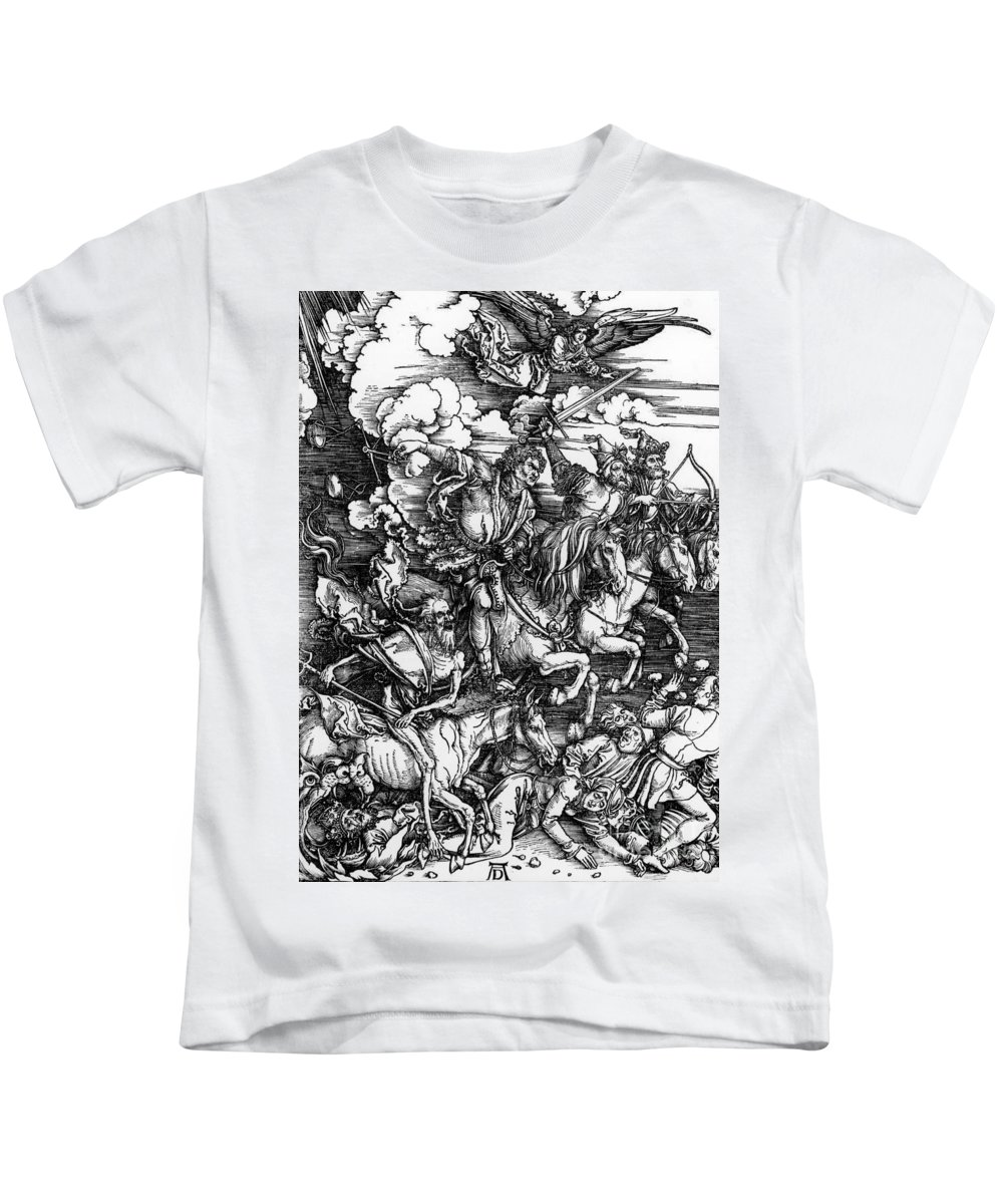 4 Kids T-Shirt featuring the painting The Four Horsemen Of The Apocalypse by Albrecht Durer
