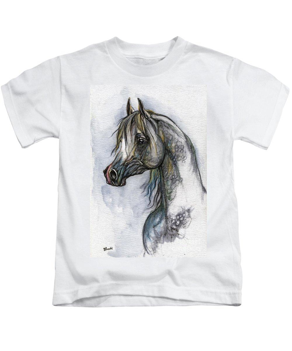 Watercolor Kids T-Shirt featuring the painting The Grey Arabian Horse 10 by Angel Ciesniarska