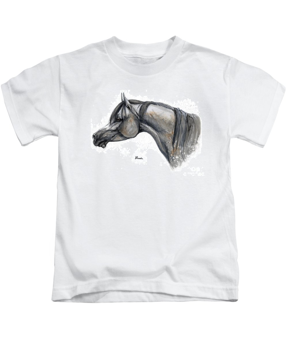 Horse Kids T-Shirt featuring the painting The Grey Arabian Horse 11 by Angel Ciesniarska