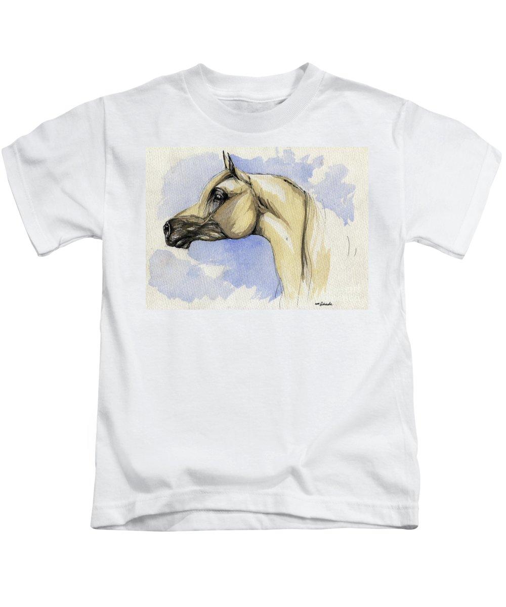 Arabian Kids T-Shirt featuring the painting The Grey Arabian Horse 12 by Angel Tarantella