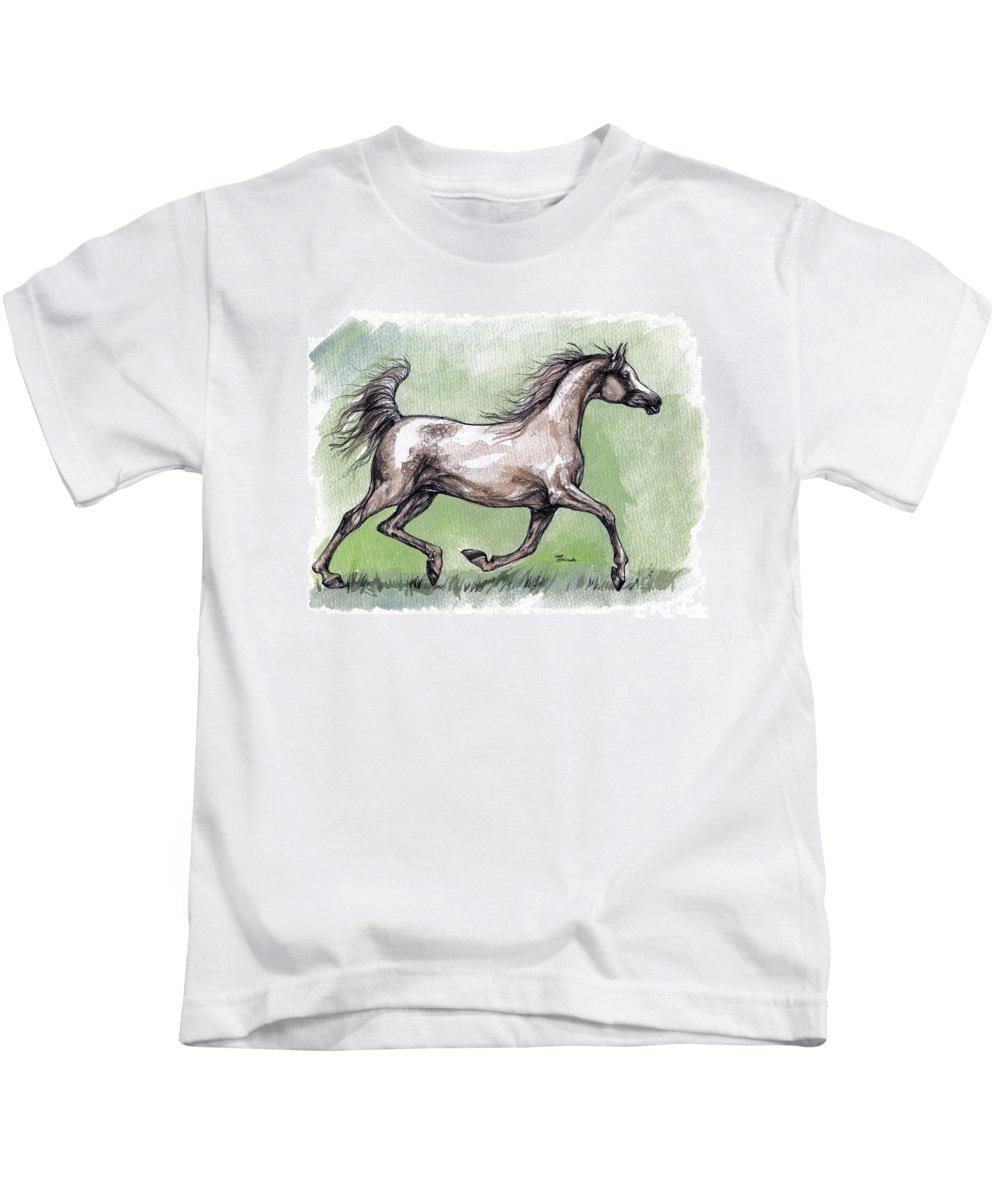 Horse Kids T-Shirt featuring the painting The Grey Arabian Horse 8 by Angel Ciesniarska