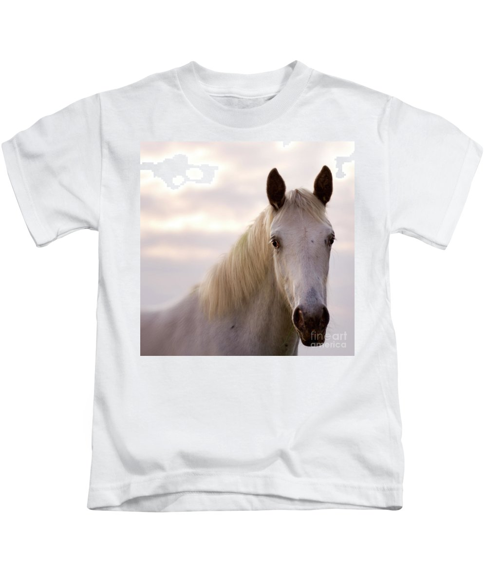 Horse Kids T-Shirt featuring the photograph The Horse In The Setting Sun by Angel Ciesniarska