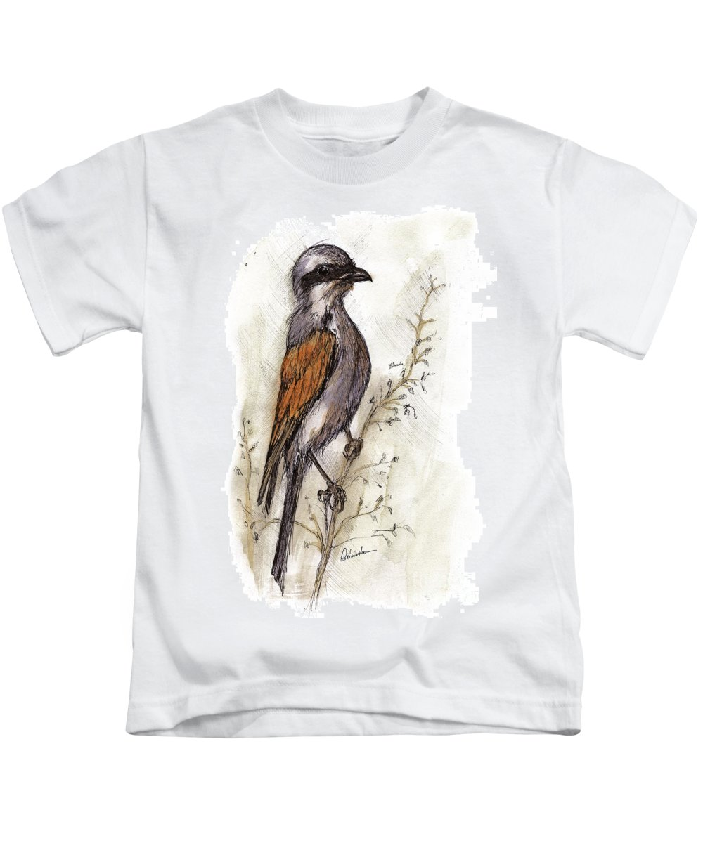 Bird Kids T-Shirt featuring the painting The Little Bird On The Twig by Angel Ciesniarska