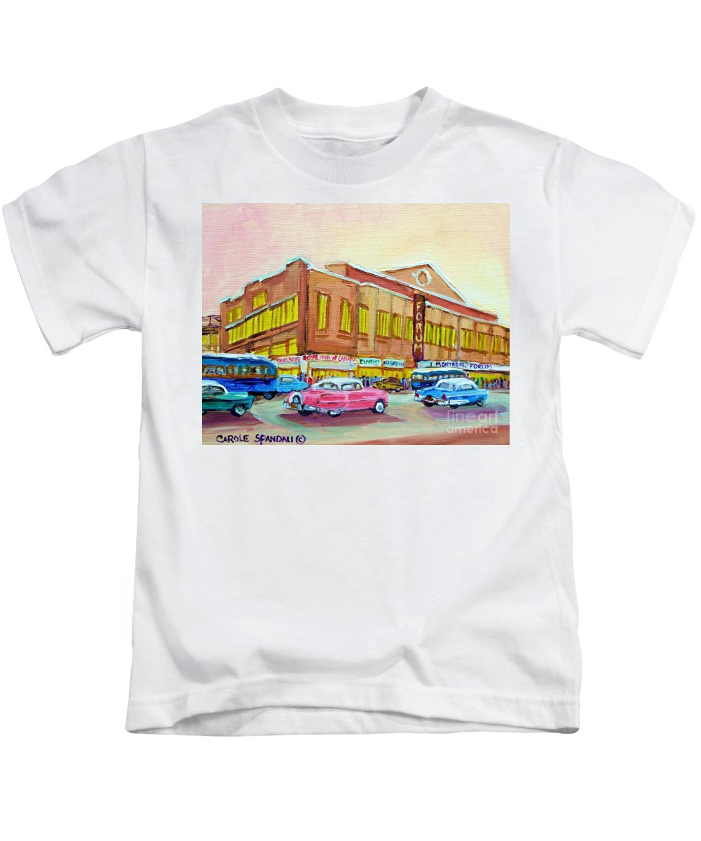 Montreal Kids T-Shirt featuring the painting The Montreal Forum by Carole Spandau