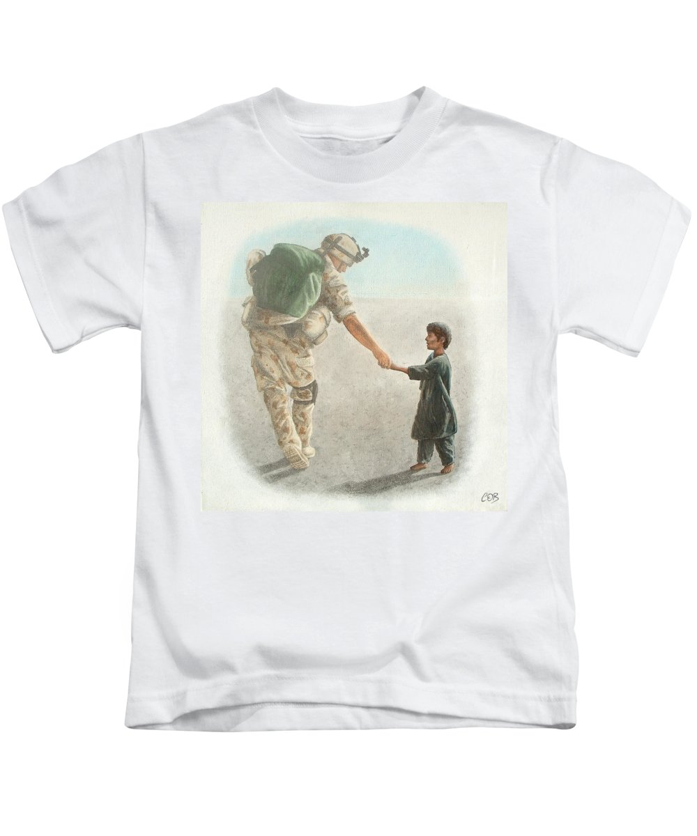War Kids T-Shirt featuring the painting The Outcome Of War Is In Our Hands by Conor O'Brien