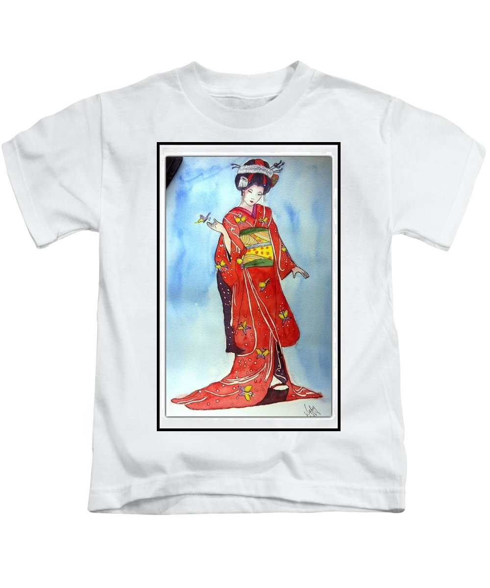Red Kimono Kids T-Shirt featuring the painting The Red Kimono by Sarabjit Kaur